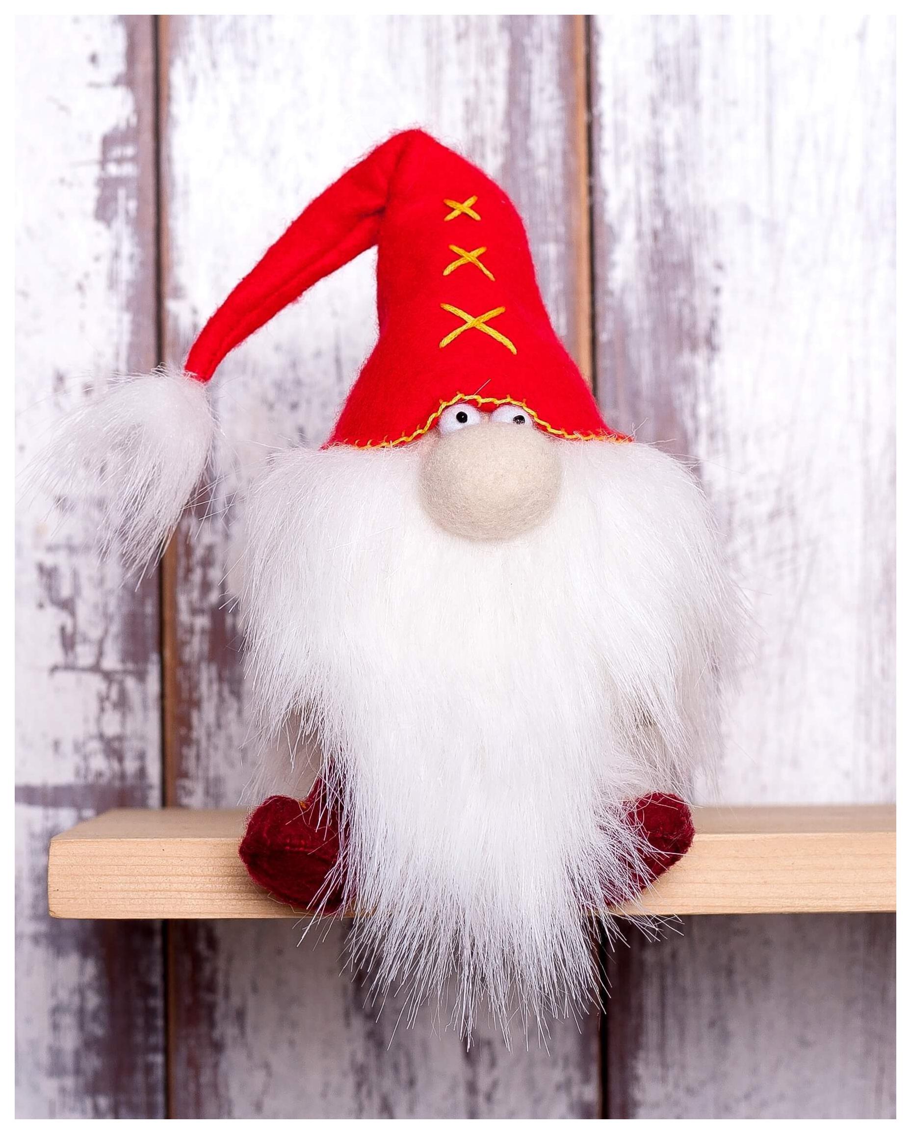 Купить Набор для создания текстильной игрушки из фетра Красный гном, 15, 5 см, Перловка, Рукоделие