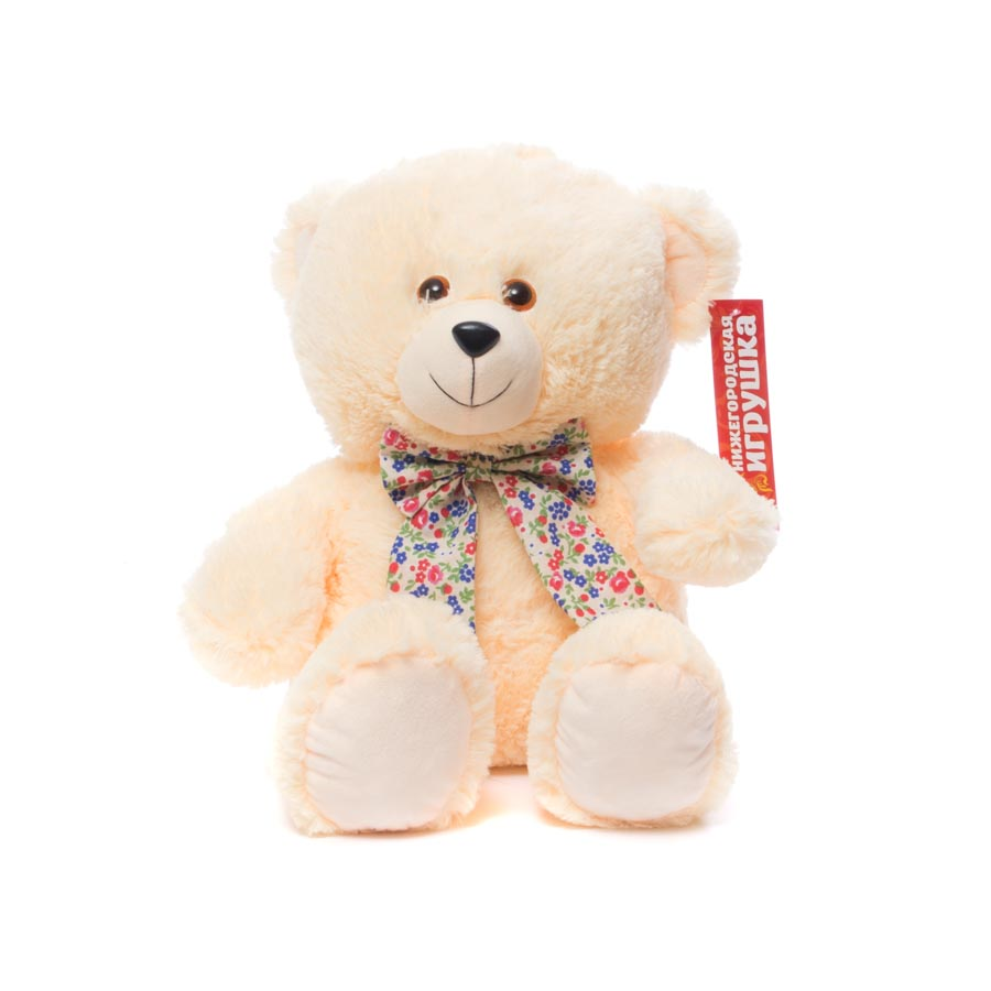 Мягкая игрушка Медведь с бантом сидит 38 см Нижегородская игрушка См-703-5 фото