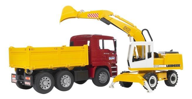 Купить Самосвал Bruder MAN с колёсным экскаватором Liebherr, Игрушечный транспорт Bruder