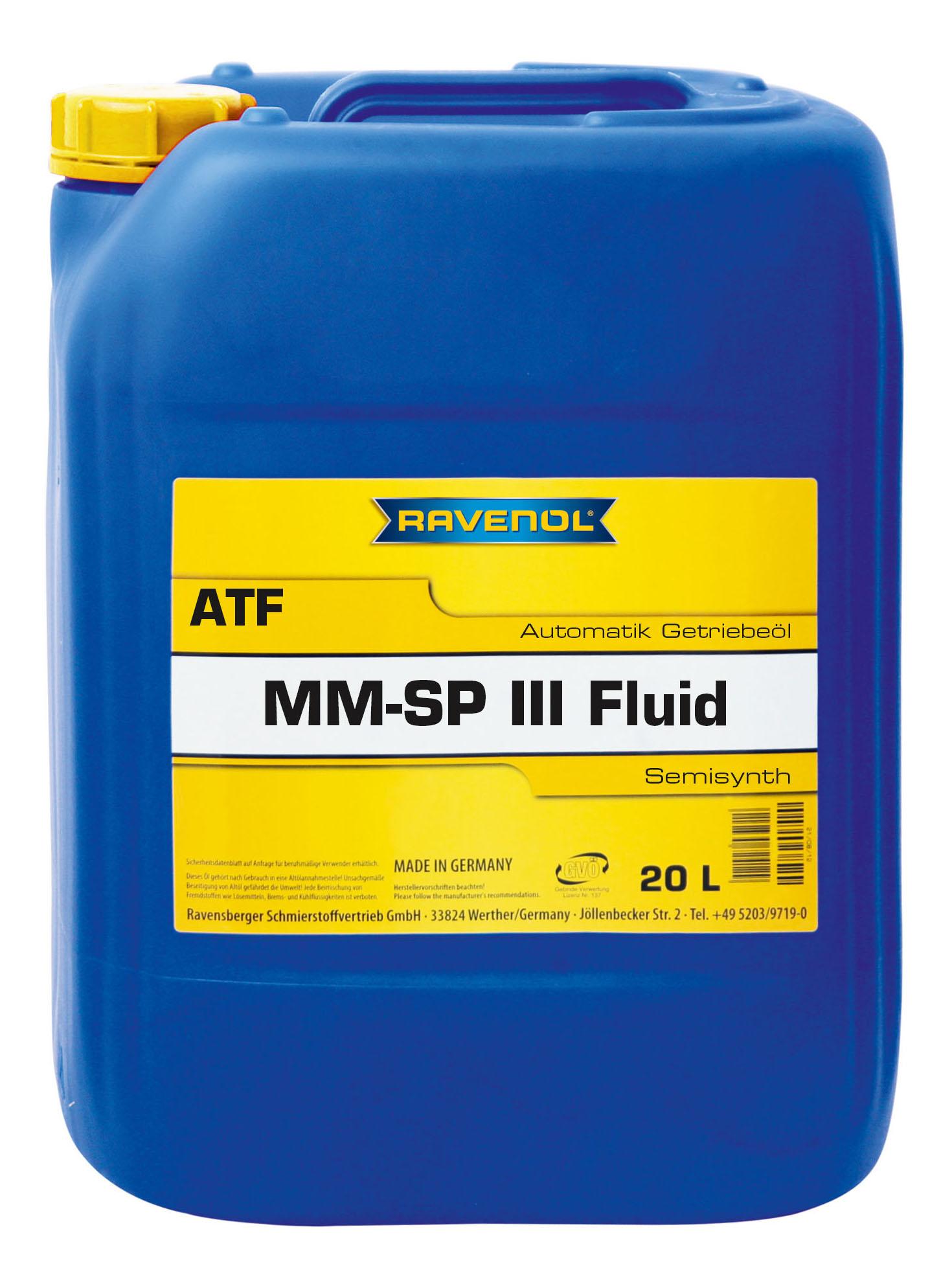 Трансмиссионное масло RAVENOL ATF MM SP-III Fluid 20л 1212103-020-01-909