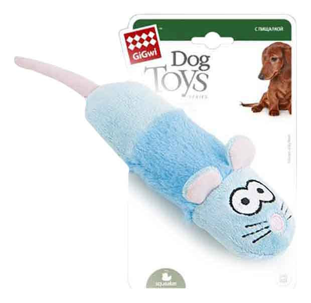 Мягкая игрушка для собак GiGwi Мышка с пищалкой, длина 19 см