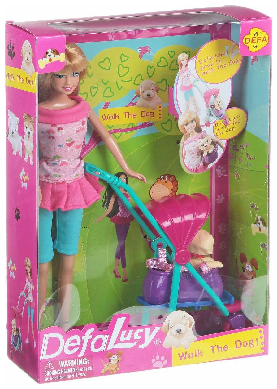 Купить Кукла Defa Lucy 8205 с коляской и собачкой 21 см, Классические куклы