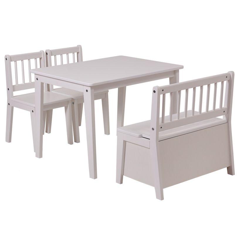 Комплект детской мебели Polini kids Dream 195 M, со скамьей и стульями, белый
