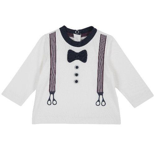 Купить 9006766, Лонгслив Chicco для мальчиков р.80 цв.белый, Кофточки, футболки для новорожденных