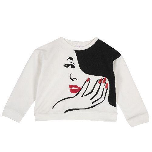 Купить 9069403, Свитшот Chicco для девочек р.104 цв.белый, Толстовки для девочек