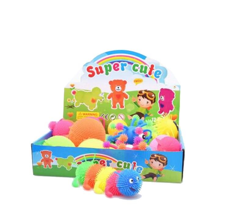 Купить Игрушка-антистресс. Гусеница (ползающая), со световыми эффектами, 12 шт в дисплее, Junfa toys, Мягкие игрушки антистресс
