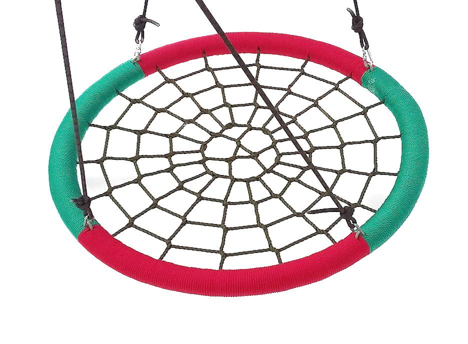 Подвесные садовые качели для дачи Облачный замок Качели гнездо 85х110 см Красный / Зеленый