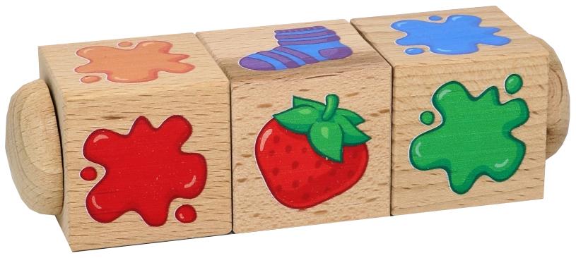 Купить Развивающая игрушка Десятое Королевство Кубики деревянные на оси Составляем цвета 3 кубика, Развивающие кубики