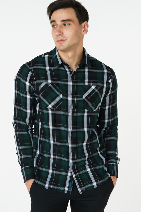 Рубашка мужская Broadway 20101573 зеленая M