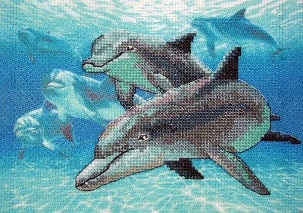 Набор для вышивания Dimensions DMS-06944 Глубоководные дельфины 18х13 см