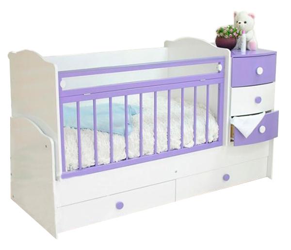 Кровать детская Красная Звезда Кирюша С 859 Белый/Сиреневый