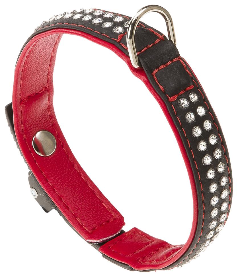 Ошейник для собак Ferplast LUX C15/28 со стразами черно-красный 76030117