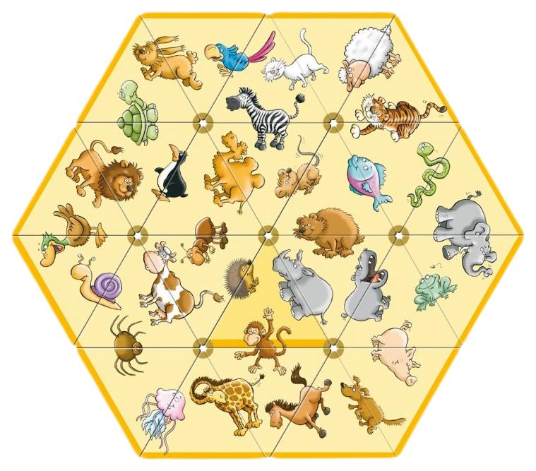 Домино SCHUBI треугольное двухстороннее Животные и геометрические фигуры