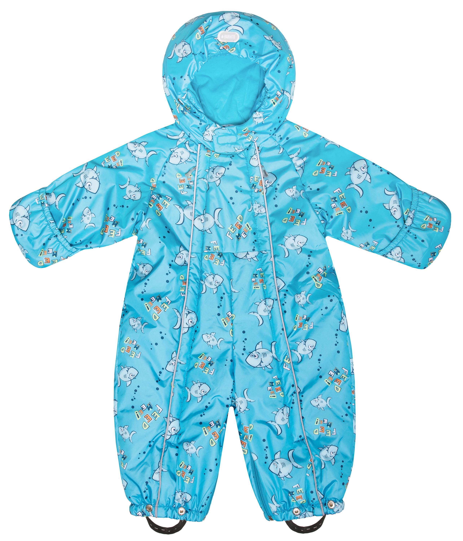 Купить Комбинезон-трансформер утепленный для мальчика Barkito голубой с рисунком рыбки р.68, Детские комбинезоны зимние