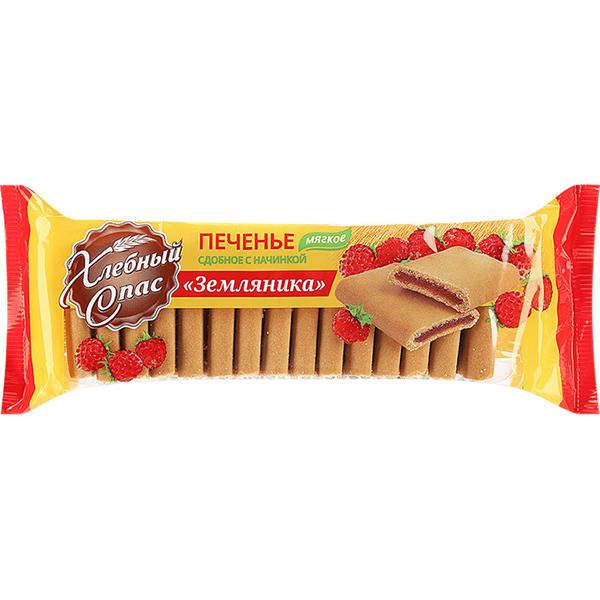 Печенье Хлебный Спас сдобное с начинкой земляника 200 г фото