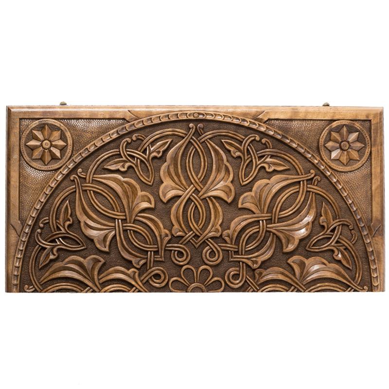Купить Нарды резные Haleyan Орнамент, с цельным рисунком орех
