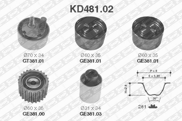 Комплект ремня ГРМ SNR KD481.02