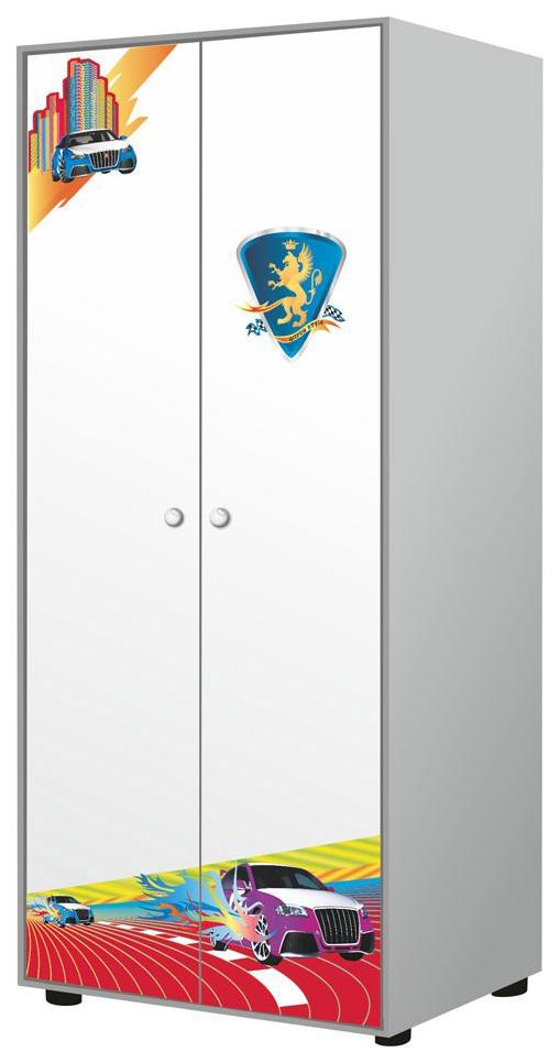 R800 ЛДСП Silver Metallic, Двухдверный шкаф Grifon Style R800 Silver metallic 07117-4, Шкафы в детскую комнату  - купить со скидкой