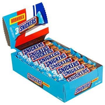 Шоколадный батончик Snickers Crisper trio 24 штуки по 60 г фото
