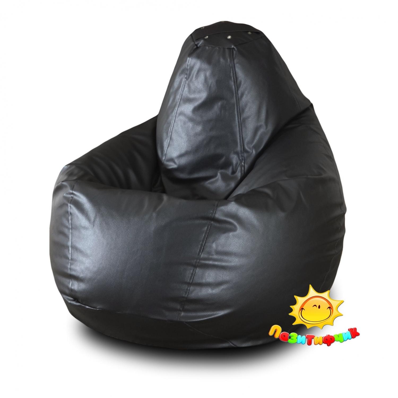 Кресло-мешок Pazitif Груша Пазитифчик Экокожа, размер M, экокожа, черный фото