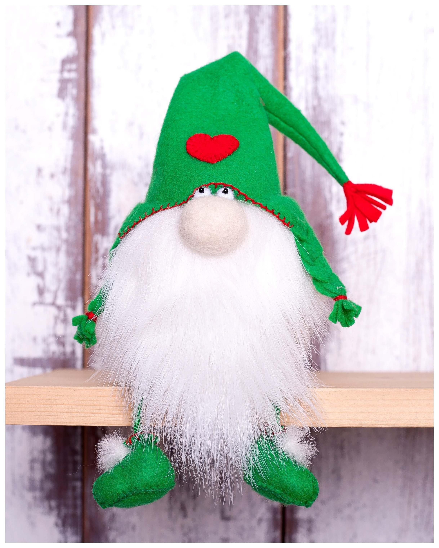 Купить Набор для создания текстильной игрушки из фетра Зеленый гном, 15, 5 см, Перловка, Рукоделие