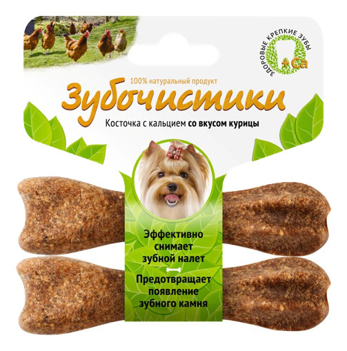 Лакомство для собак Деревенские лакомства Зубочистики, с курицей, для мелких пород, 36г