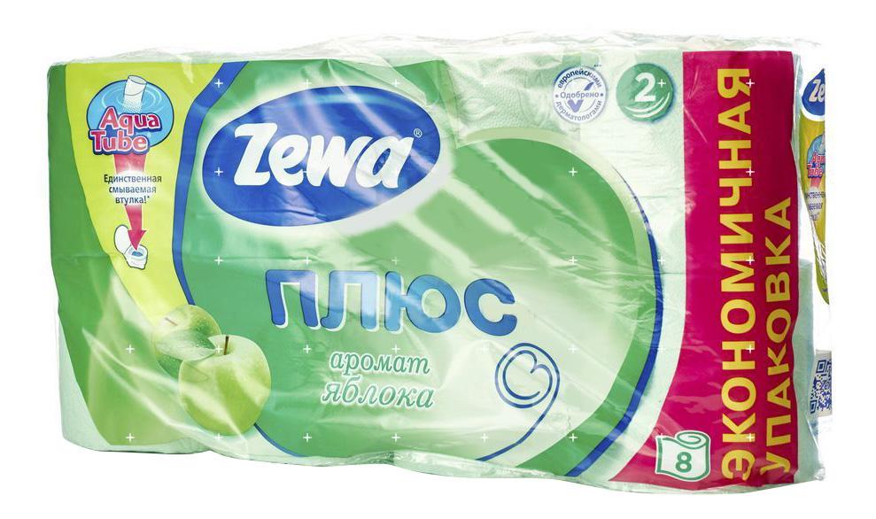 Туалетная бумага Zewa Плюс Яблоко 2-ух слойная 8 шт.