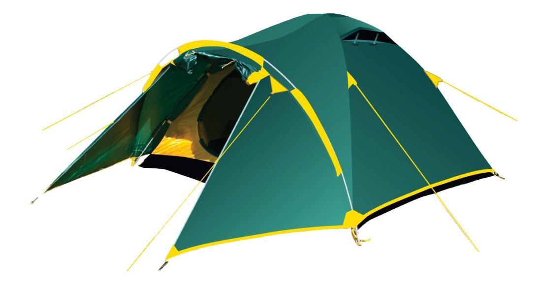 Палатка Tramp Lair четырехместная зеленая/желтая фото
