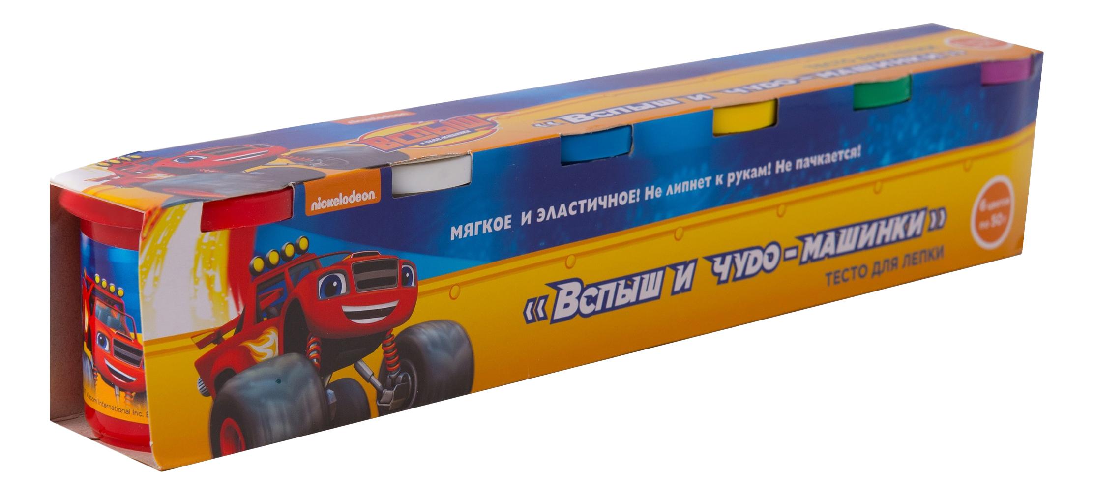 Купить Тесто для лепки Вспыш и чудо-машинки 6 цветов Росмэн 33358, Лепка
