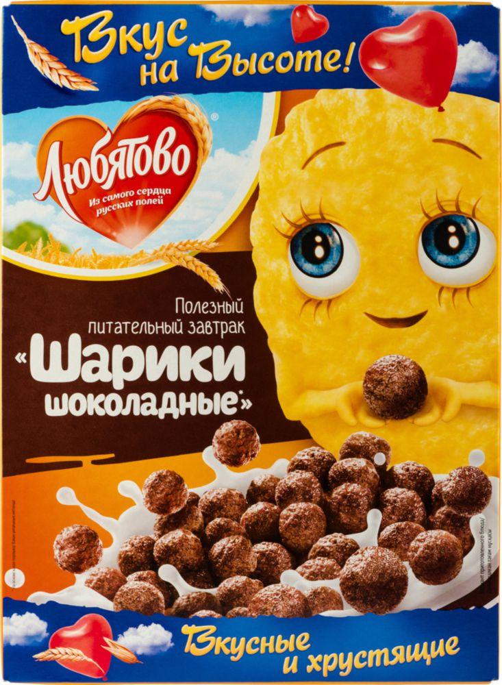 Готовый завтрак шарики Любятово шоколадные 250 г фото