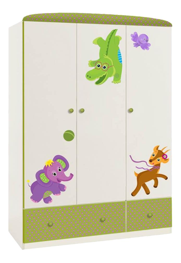 Basic Elly трехсекционный белый-зеленый, Детский шкаф трехсекционный Polini Basic Elly белый-зеленый, Шкафы в детскую комнату  - купить со скидкой