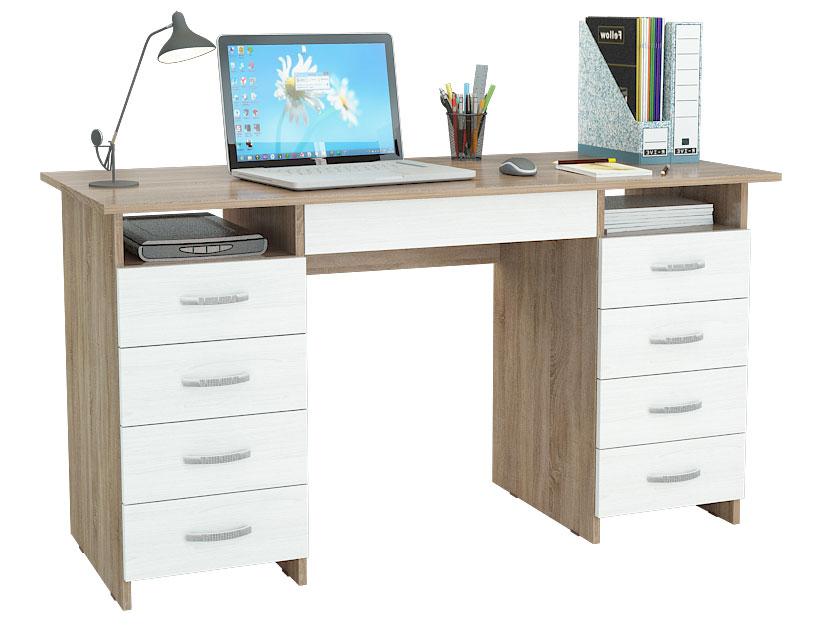 Компьютерный стол МФ Мастер Милан-10Я 143,6x60x75, дуб сонома/белый