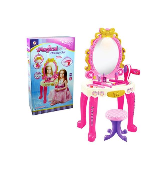 Купить Набор игровой Shantou Gepai Туалетный столик на батарейках со светом и звуком 80852A, Игрушечные туалетные столики