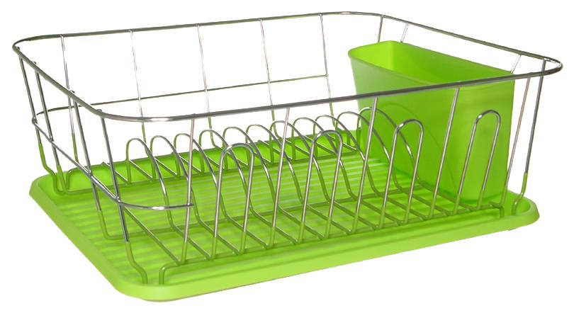 Сушилка для посуды Kamille 0763A Серебристый, зеленый