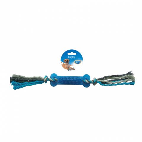 Жевательная игрушка для собак Duvo+ Кость с веревками по бокам, синий, длина 45 см
