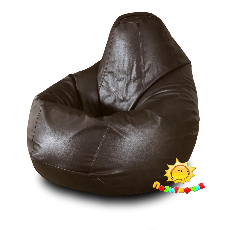 Кресло-мешок Pazitif Груша Пазитифчик Экокожа, размер L, экокожа, коричневый фото