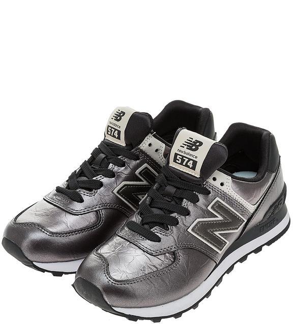 Кроссовки женские New Balance WL574WNF/B серебристые/черные