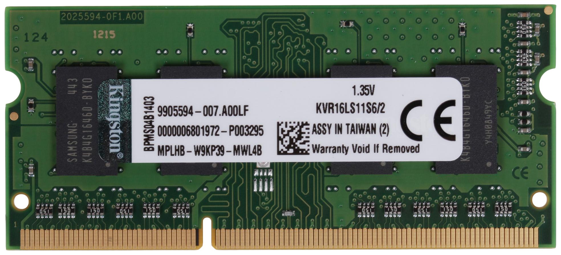 Модули памяти KINGSTON KVR16LS11S6/2