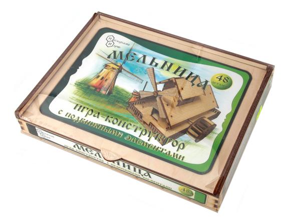Конструктор деревянный Бэмби Мельница с движущимися элементами