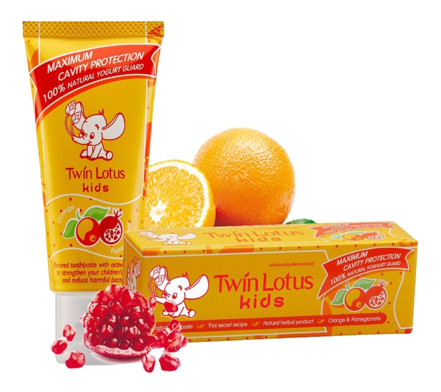 Купить Апельсин и гранат, Зубная паста детская Twin Lotus Orange&pomegranate (Апельсин И Гранат) 50Мл, Детские зубные пасты