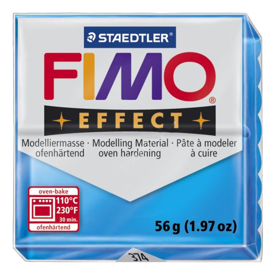 Глина для лепки FIMO Effect полупрозрачный синий фото