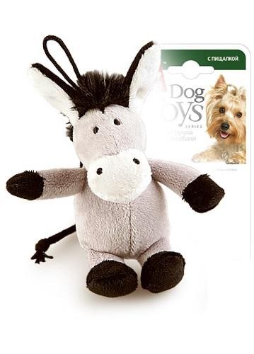 Мягкая игрушка для собак GiGwi Ослик с пищалкой, серый, длина 11 см