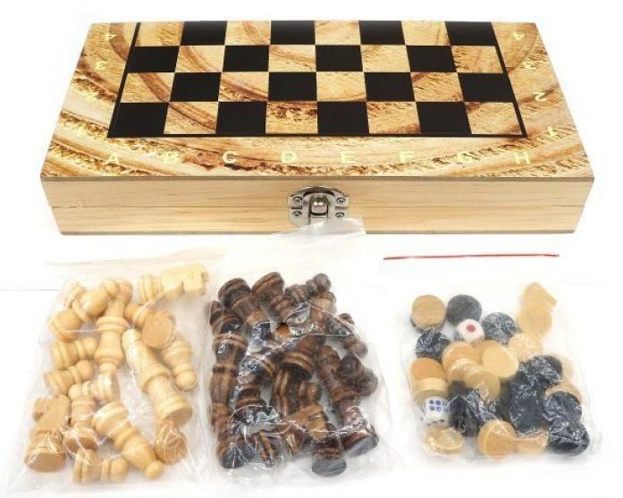 Семейная настольная игра Shantou Gepai Шахматы, шашки и нарды W4018-H фото