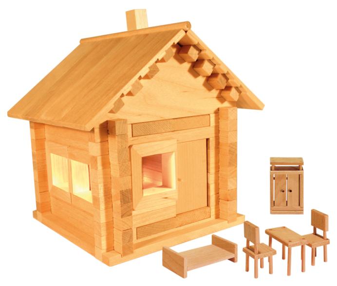 Купить Избушка Теремок, Мебель со светом, Конструктор деревянный Теремок Избушка Теремок, Мебель cо светом к582 МЭ 106 деталей,
