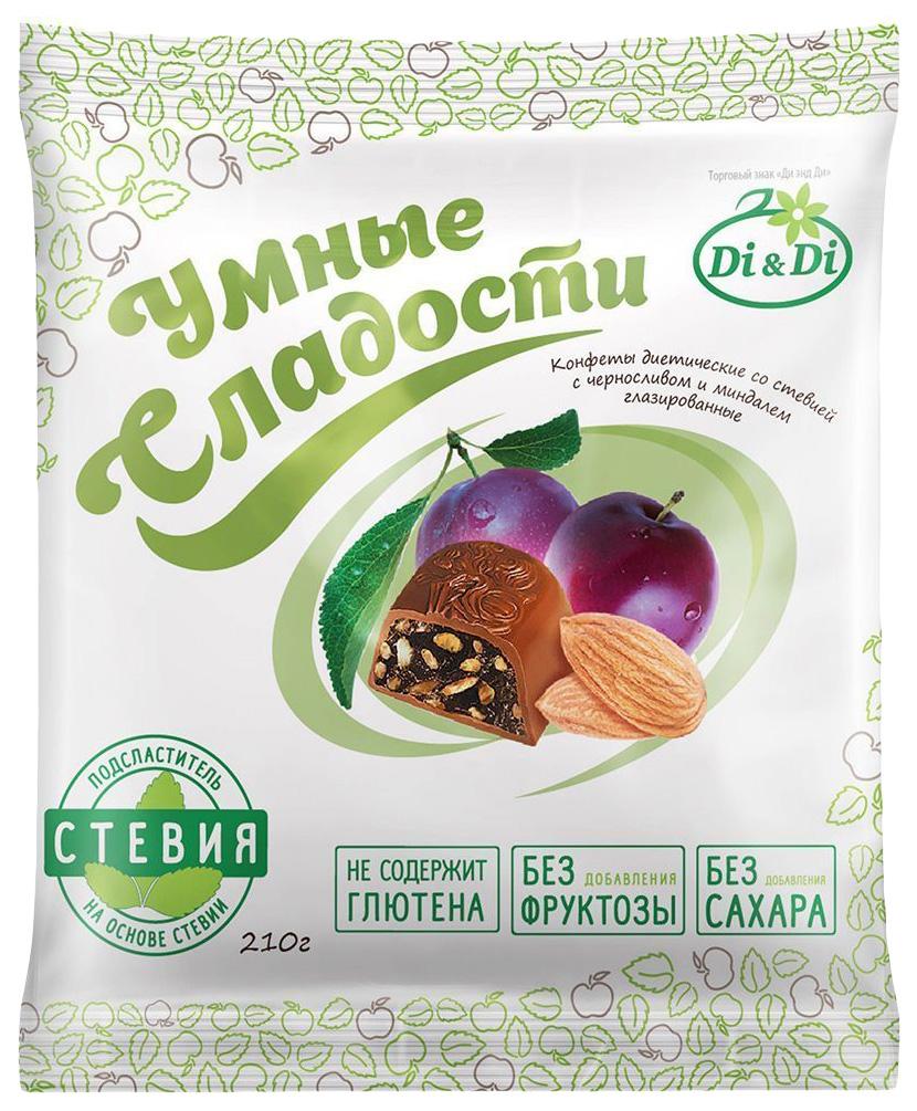 Конфеты со стевией Умные сладости с черносливом и миндалем глазированные 210 г