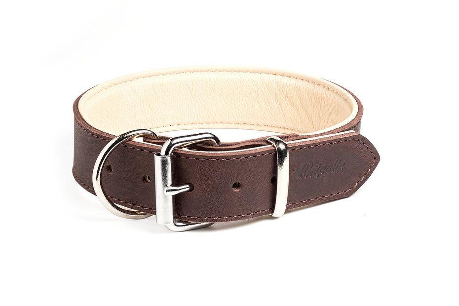 Ошейник для собак Gripalle Гросс, кожаный, стальная фурнитура, коричневый, 35мм х 60см