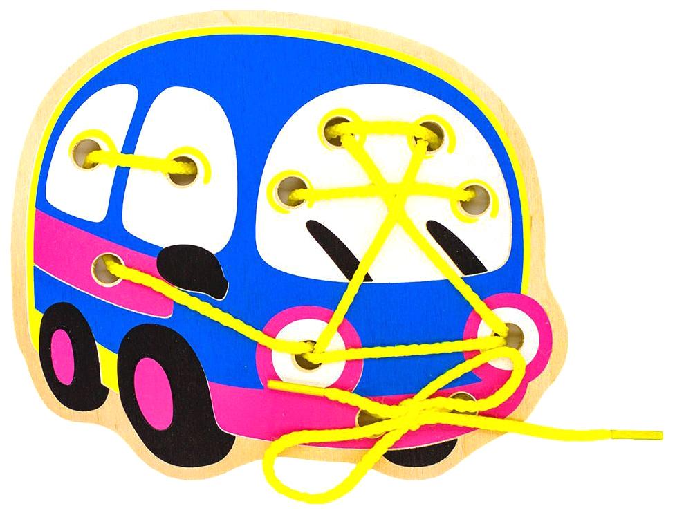 Купить Деревянная Шнуровка Alatoys Автобус, Алатойс, Шнуровки для детей