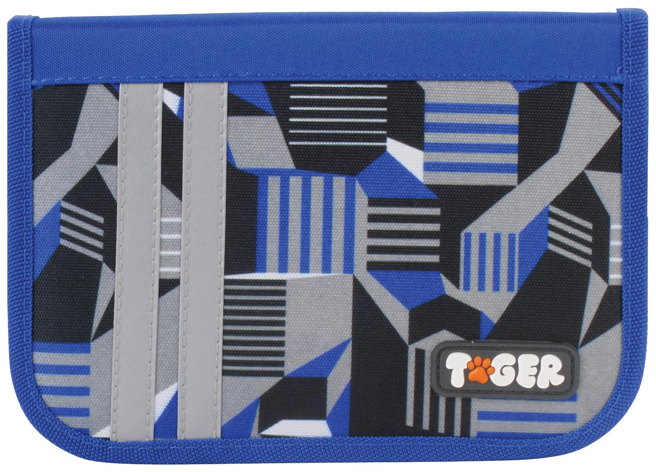 Пенал Tiger Family Электро 1 отделение, Голубой/Синий/Черный/Серый...