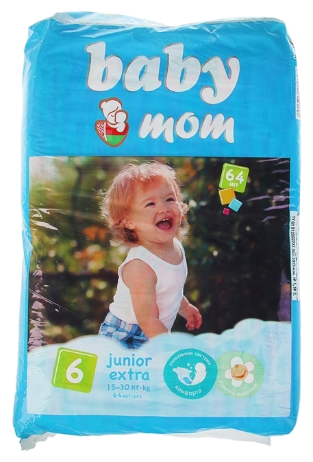 Подгузники Baby Mom, размер Junior Extra (15-30 кг), 64 штуки SENSO BABY