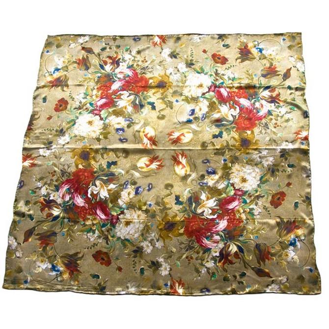 Платок женский Tranini 0276 PLATOK 7 белый/коричневый/красный фото